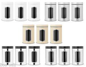 Brabantia-Latas-de-reserva-Juego-De-3-con-ventana-1-4-L-Bote-De-Cafe-Cookie-box