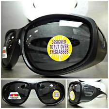 WRAP AROUND DRIVING POLARIZED SUN GLASSES Over RX Glass Fit Matte Black Frame