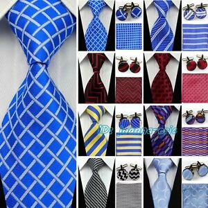 100% Silk Ties Wedding Neckties Compatible Cufflinks Sets Hanky Handkerchief