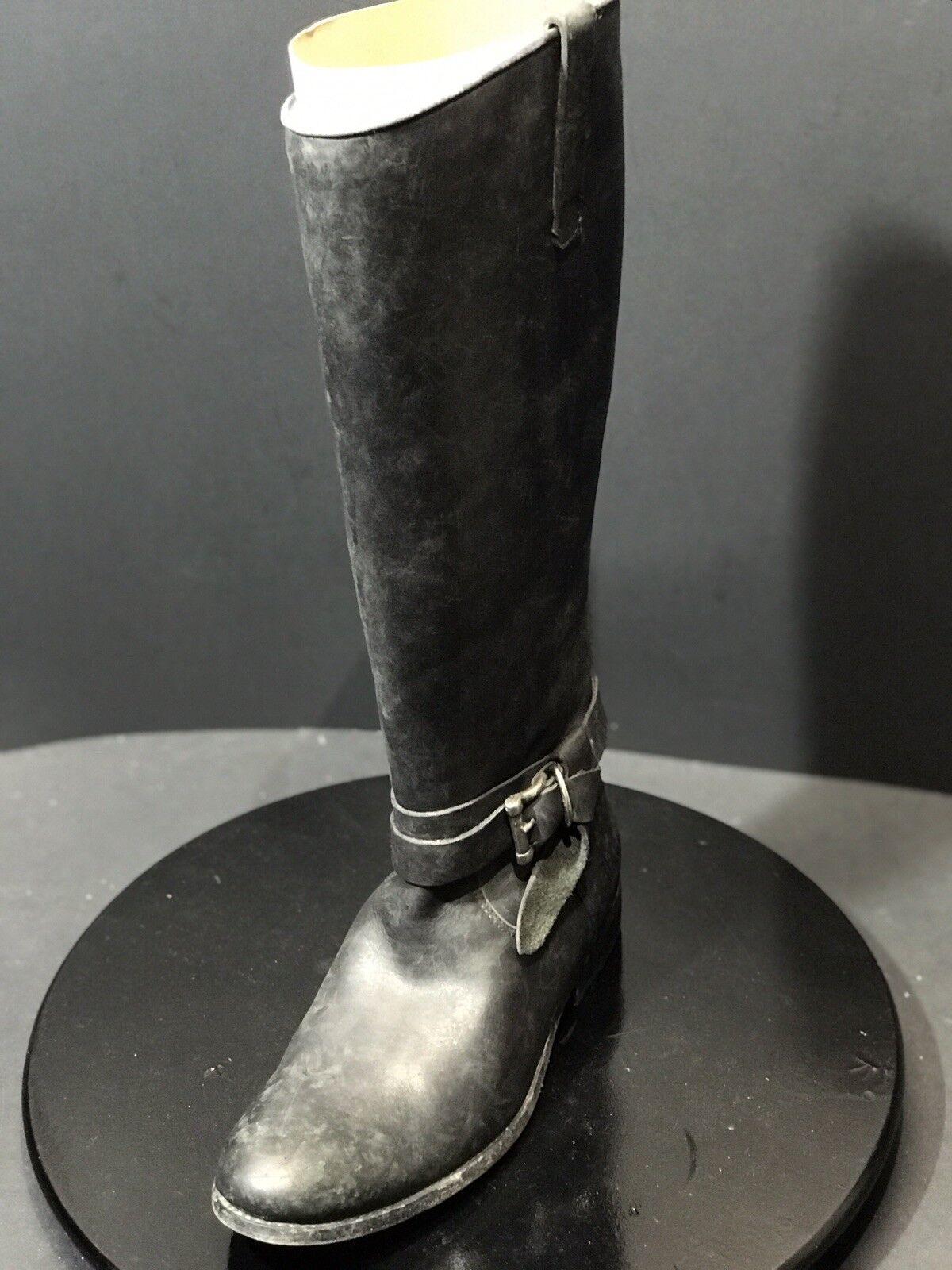 Frye Melissa anudada Alto Negro Lavado a La Piedra para Mujer de Cuero botas Tamaño nos 8 M