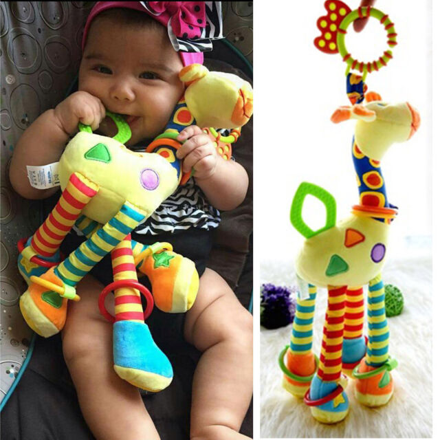 Infant Baby Development Soft Giraffe Animal Handbells Rattles Handle Toys   WI