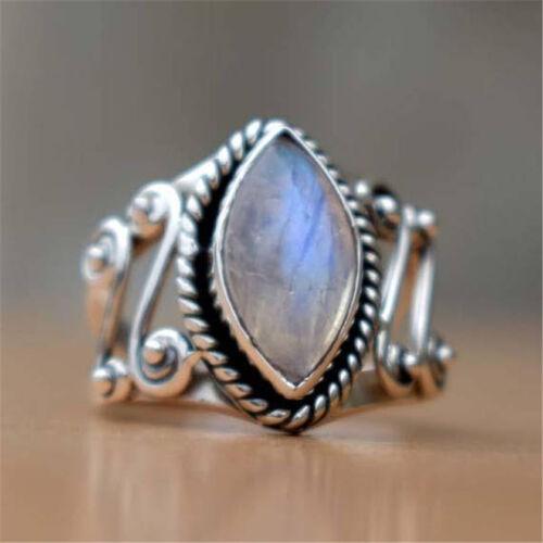 925 Silver Gemstone Moonstone Evil Eye Ring Femmes Fête De Mariage Bijoux Sz6-10