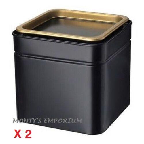NEW IKEA x 2 Blomning Tin Coffee Gold Tea Caddys  Black