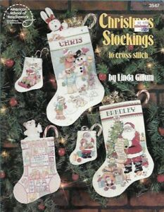 Christmas-Stockings-in-Cross-Stitch-ASN-3547-Santa-Snowman-Baby-039-s-1st-amp-More
