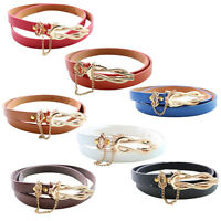 New Fashion imple Skinny Belt Ultra-thin Leather Women's Belt with chain Belts
