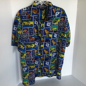 Roundy-Bay-Mens-Large-Blue-Yellow-Red-White-amp-Brown-Hawaiian-Shirt