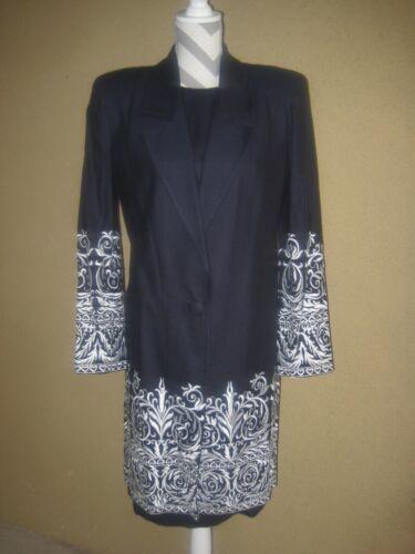VintageTravilla navy linen 2pc whiteembroidered… - image 1