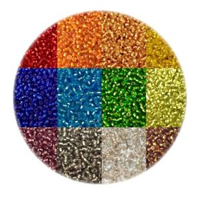 50-gms-3300pcs-Silver-Lined-11-0-Glass-Seed-Beads-Pick-your-Colour