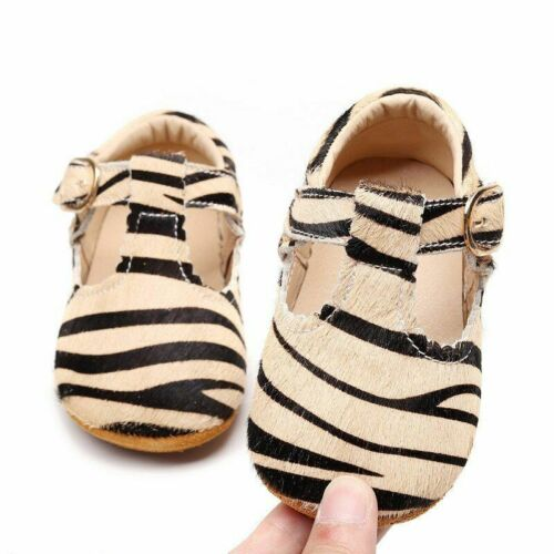 Bar Baby Moccasins Baby Girls Leather Leopard Shoes Soft Sole First Walkers T