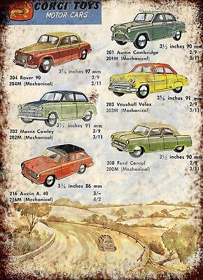 Corgi Toys automóviles Publicidad Retro Vintage Repro Letrero De Metal