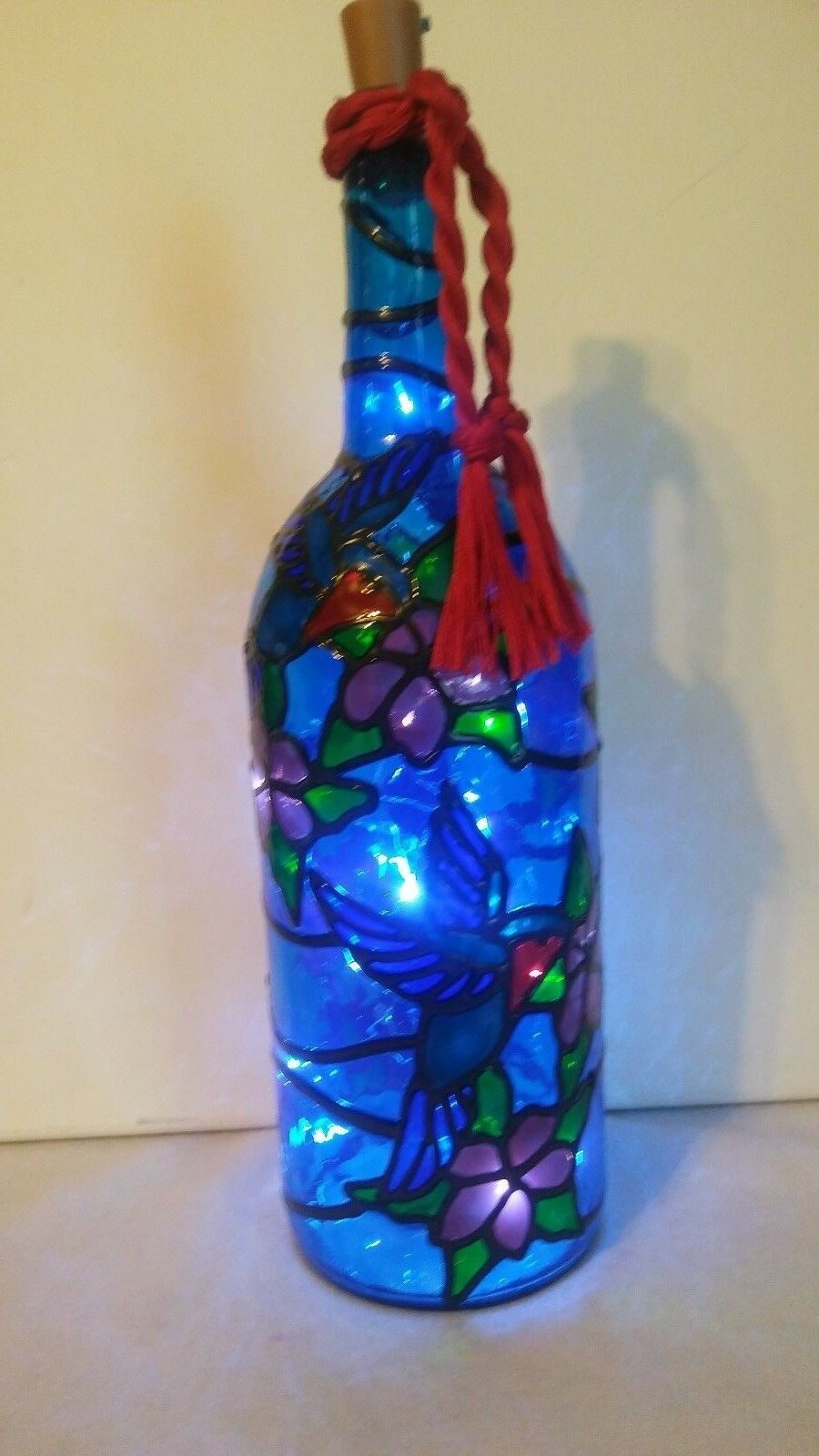 Hummingbird Bottle Lamp Handpainted Lighted Stained Glass Look LED lights