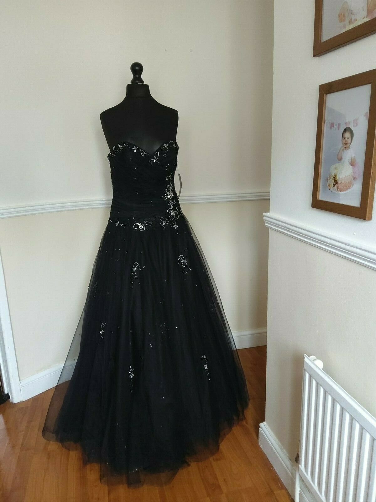 LADIES BLACK SEQUIN/BEAD SIZE 14 DRESS BY ROSETTA NICOLINI BRIDESMAID/PROM/BALL
