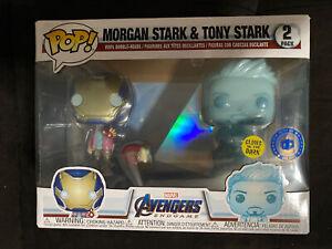 *Mint* Funko Marvel Morgan & Hologram Tony Stark with Helmet Pop! Vinyl 2 Pack