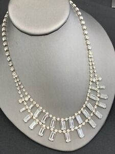 Stunning-1950-s-Clear-Rhinestones-Vintage-2-Strand-Necklace-Wedding-Prom-18
