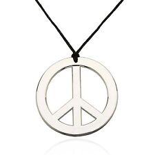German Trendseller® - Halskette Peace Anhänger ┃ Kette ┃ Flower Power ┃ Silber