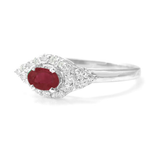 925 Sterling Silver Red Ruby Natural Ring Engagement East-West Size 4-11