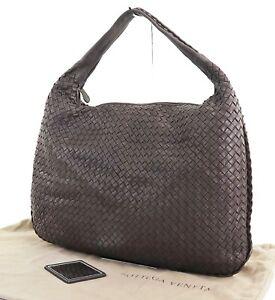 Authentic-BOTTEGA-VENETA-Brown-Woven-Leather-Tote-Hand-Bag-Purse-29055