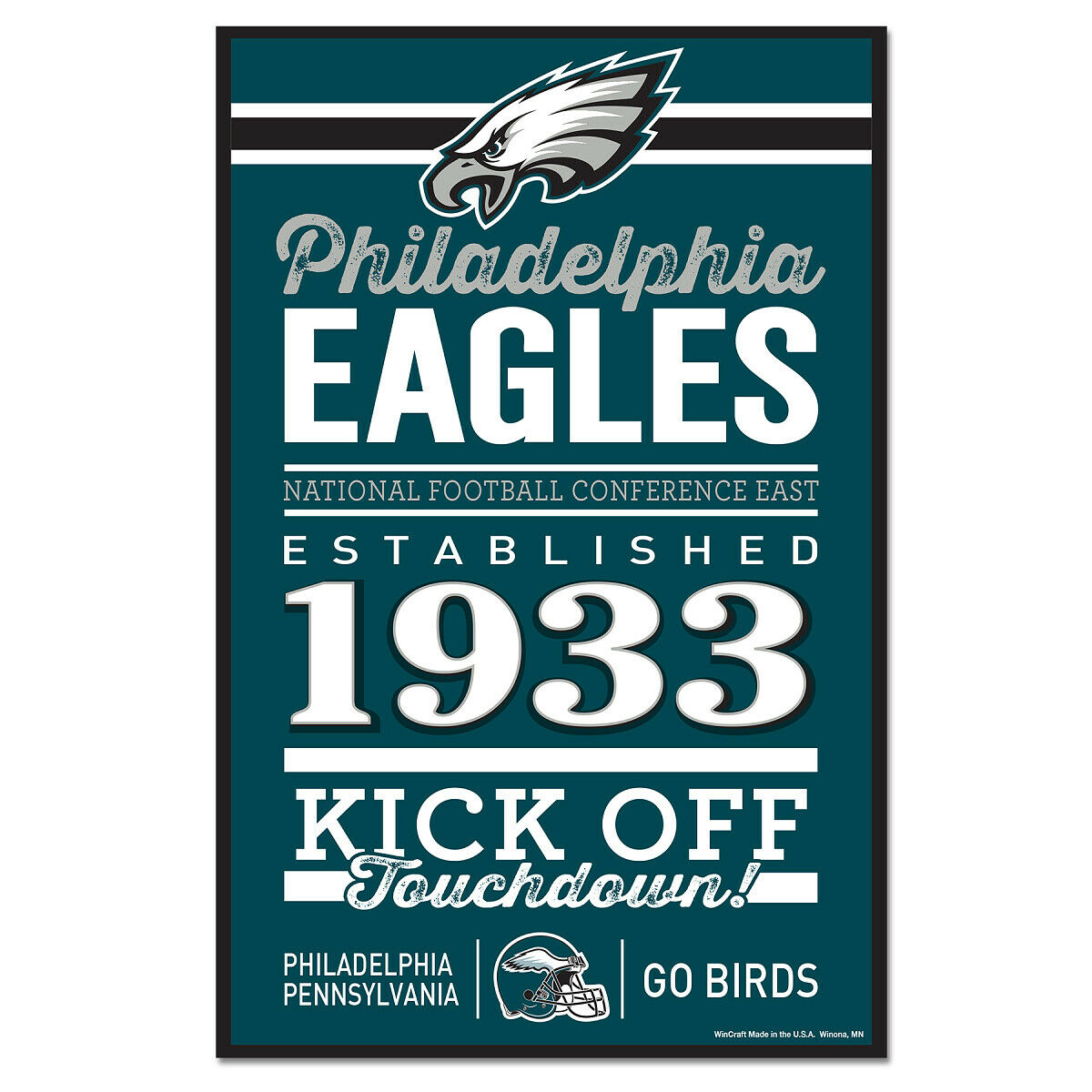 Philadelphia Eagles Insegna in Legno 43 cm NFL Football, Established Wood Sign