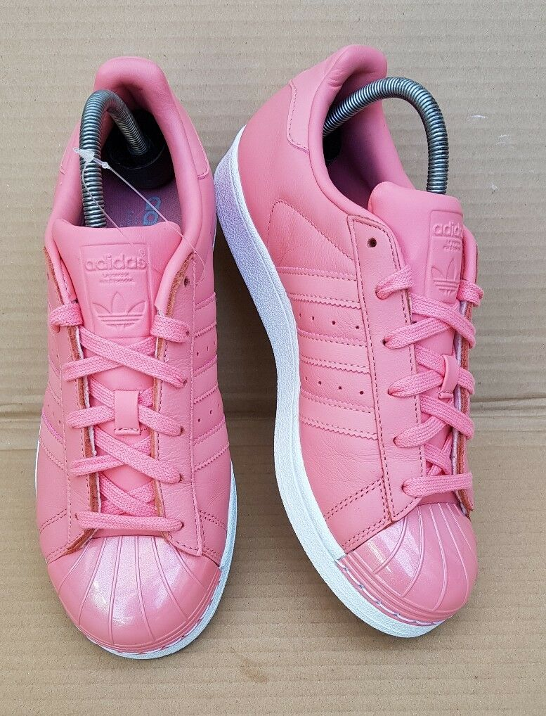 GORGEOUS ADIDAS SUPERSTAR TRAINERS PINK GLOSS METAL TOE IN SIZE 6 UK NEW