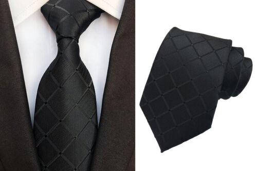 Tie Pocket Square Cufflinks Black Grid Check Stripe Set 100/% Silk Wedding