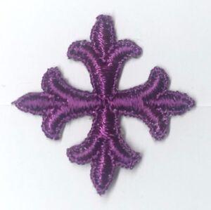 Vintage-Frances-Cruz-Fleury-1-034-Sobrepuesto-para-Coser-Purple-C-Parche-12-Piezas