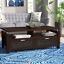 storage coffee table wooden shelves cabinets panels furniture living room den