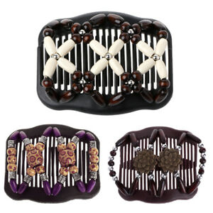 Easy-Magic-Wood-Double-Beads-Hair-Comb-Clip-Stretchy-Women-Hair-Accessories