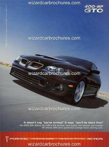 2005 PONTIAC GTO A3 POSTER AD SALES BROCHURE MINT ADVERT ADVERTISEMENT