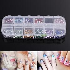 3600Pcs Nail Art Tips Studs Gems Crystal Rhinestones Shiny Glitter DIY Decor Kit