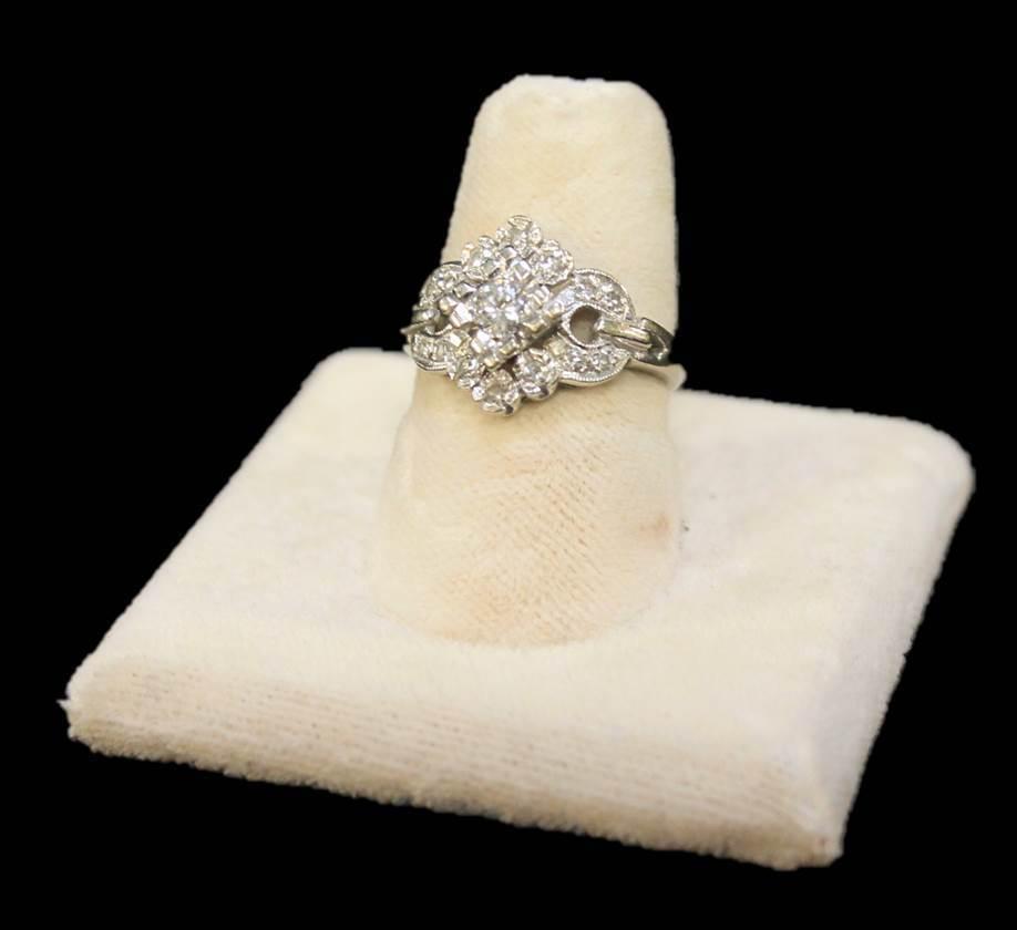 14kt White gold Diamond Ring Size 6