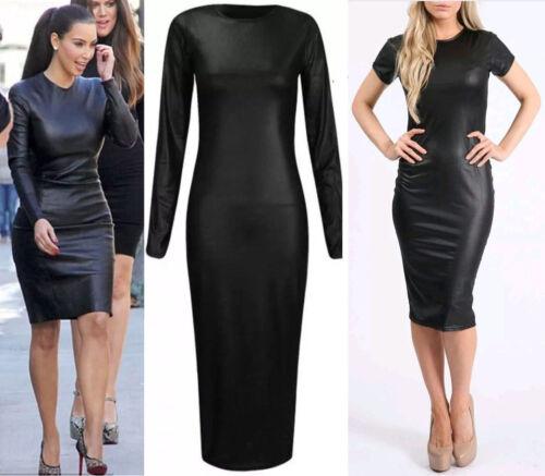 FEMMES Wet Look long et à mancherons pvc leather dress bodycone Tunique UK 8-26
