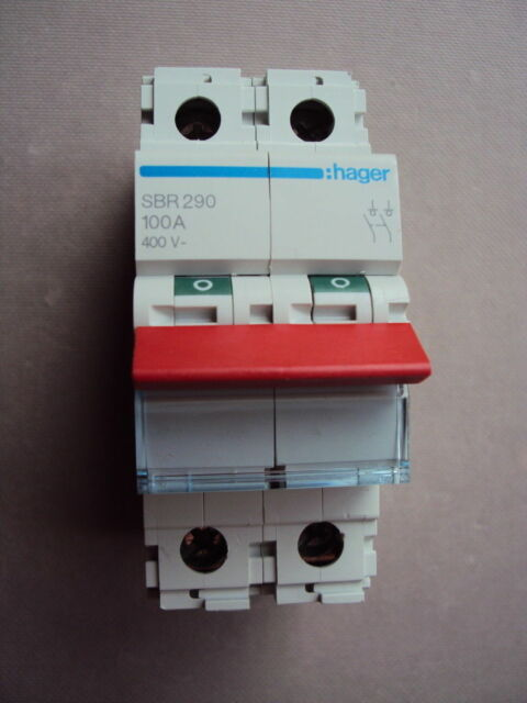 HAGER SBR 290 100A AC22A IEC 60947-3 100 AMP SBR290 DP MAIN SWITCH DISCONNECTOR