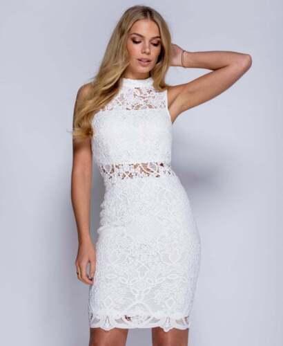~OKSANA~ White Floral Lace Crochet Bodycon Evening Midi Party Dress 8 10 12 14