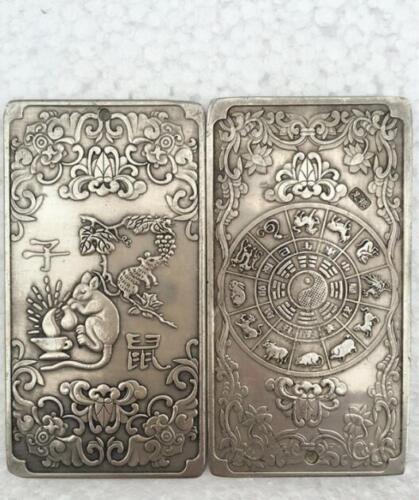 12Pcs Old Chinese Chinese Twelve Zodiac tibetan Silver Bullion thanka amulet