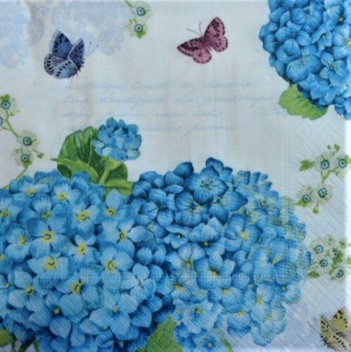 4 x singolo di carta Tovaglioli Decoupage CRAFT Tavola Blu Ortensia b8