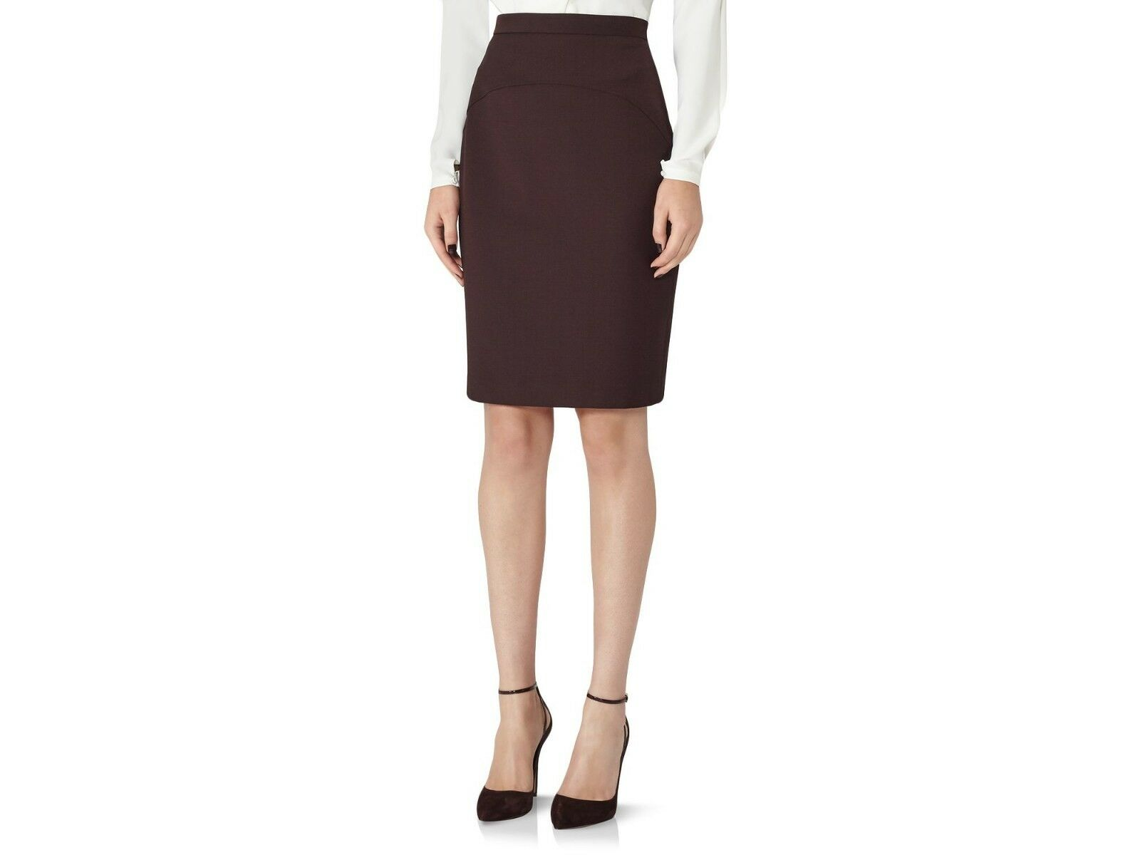 299 NEW WITH TAGS REISS Ricca Tailored Pencil Skirt Colour Plum Size 2