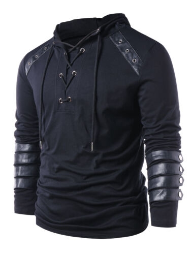 NEW Autumn Drawstring Hoodies Mens Lace Up Sweats Faux Leather Hooded Sweatshirt