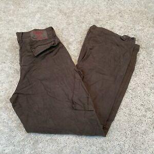Vintage-GUESS-JEANS-Pour-HOMME-Pantalon-Cargo-W32-L30-Brown-Straight