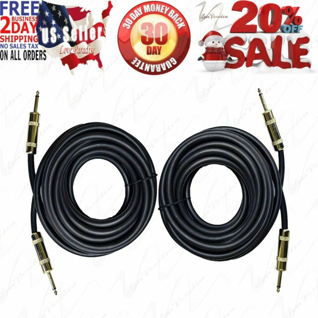 35 Ft. DC Pro 12Gauge 6.3mm 1//4 TS Mono to Banana Plugs Wire Speaker Pr Cable