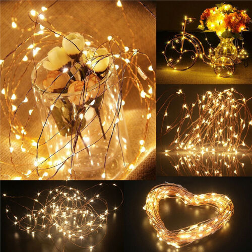 50//100 LED Remote Control String Fairy Lights Battery Operated Xmas Party Decor