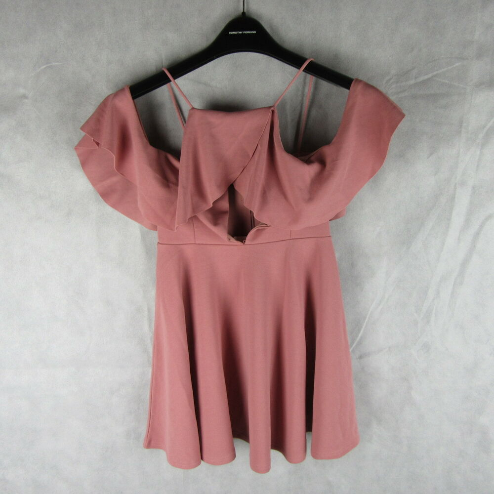 Missguided Robe Patineuse Front Volants Rose Taille 8 Mode Chic