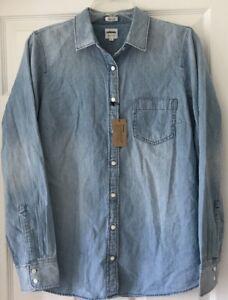 348b8866 J Crew Factory Womens Perfect Fit Denim Shirt M Medium Soft Chambray ...