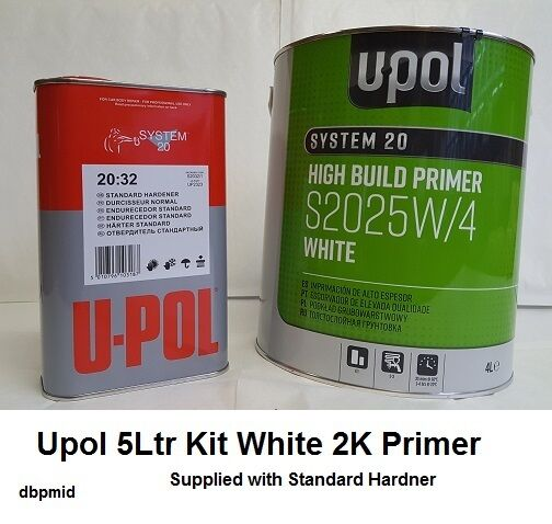 2K Primer Car Paint U-Pol High Build 5lt kit WHITE - STD Hardner Supplied