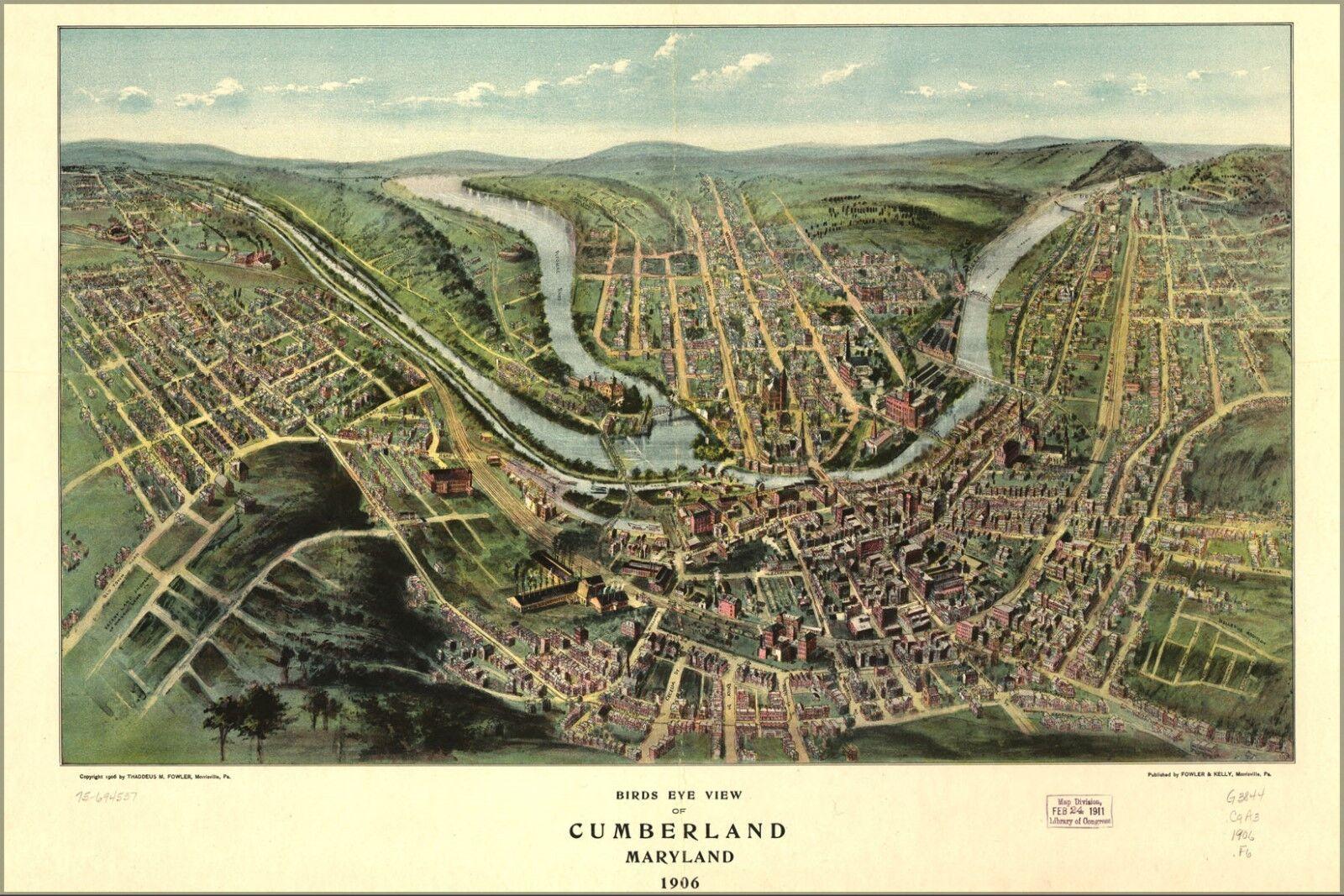 Plakat, Viele Größen; Vogelauge Blick Karte von Cumberland, Maryland 1906