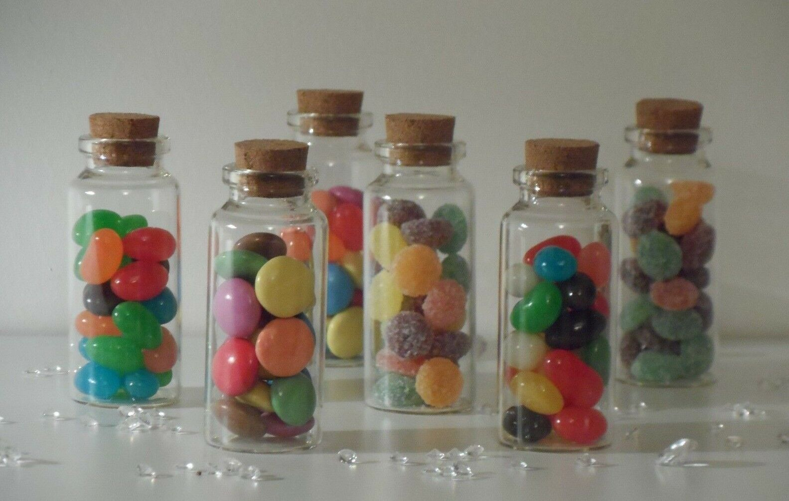 Small Clear Glass Cork Lid Bottles Jars Party Sweets Sweets Sweets Wedding Table Favours 3x7cm c1b04a