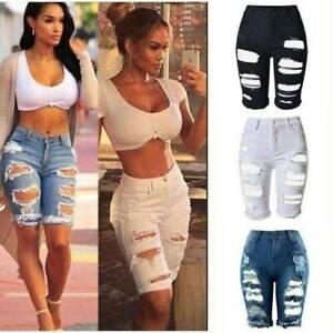 Women-Ripped-Denim-Shorts-Jeans-High-Waist-Skinny-Stretch-Summer-Hot-Pants-Crop