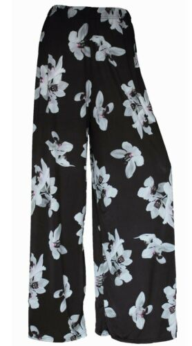 LADIES FLORAL PRINT PALAZZO TROUSERS WOMENS SUMMER WIDE LEG PANTS PLUS SIZES