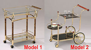 Gold Metal Plated Tempered Clear / Black Glass Storage Serving Cart w/ Casters