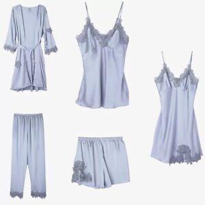 Di Notte Nuvola Set Da Raso 5 Nuovo Blu Pantaloni Shorts Maglia Camicia Donna In nBUqgB104