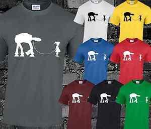 AT-AT Dog Walker Star Wars Inspired Mens T Shirt Yoda Top Funny Banksy Design